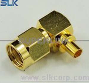 SMA plug right angle solder connector for TFLEX-402 cable 50 ohm NM-5MAM15R-A81-010