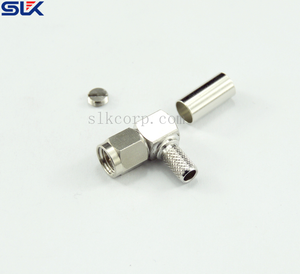 SMA plug right angle crimp connector for LMR-100A cable 50 ohm 5MAM11R-A409