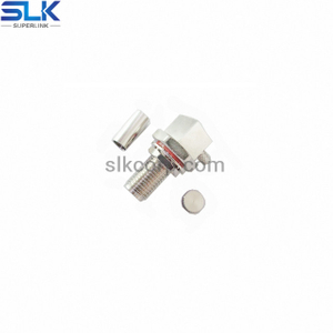 SMA jack right angle crimp connector for RG178 cable bulkhead front mount 50 ohm 5MAF11R-A03-004