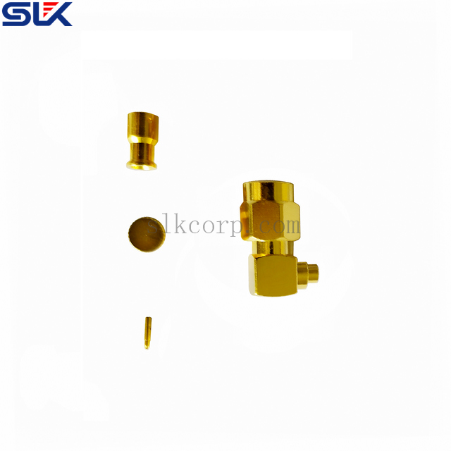 SMA plug right angle solder connector for NBEND-280 cable 50 ohm 5MAM15R-A82-015