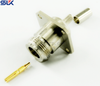 N jack straight solder connector for RG-58A/U cable 4 holes flange 50 ohm 5NCF45S-A41-001