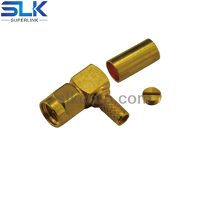 SMA plug right angle crimp connector for LMR-195 cable 50 ohm 5MAM11R-A45-003