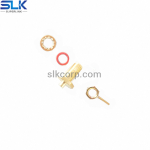 SMA jack straight crimp connector for φ1.37 cable bulkhead front mount 50 ohm 5MAF15S-A72-003