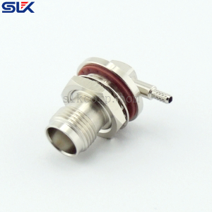TNC jack right angle solder connector for OD 1.32 cable bulkhead rear mount 50 ohm 5TCF31R-A425