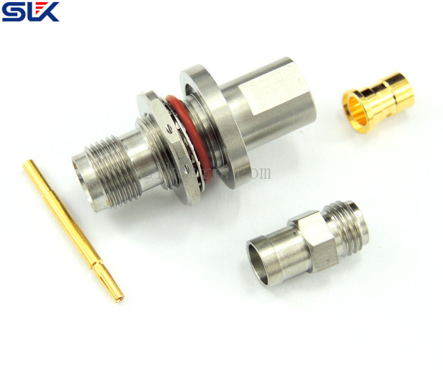 TNC jack straight crimp connector for RG178/U cable bulkhead rear mount 50 ohm 5TCF31S-A03-001