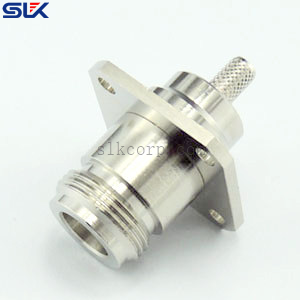 N jack straight solder connector for LMR195 cable 4 holes flange 50 ohm 5NCF11S-A45-017