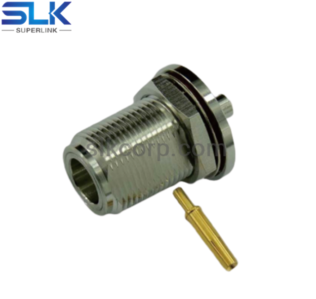 N jack straight crimp connector for LMR-240 cable bulkhead front mount 50 ohm 5NCF31S-A46-003
